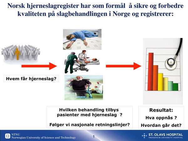 Figur 2: Norsk hjerneslagregister gir  informasjon om hvem som får hjerneslag hvordan de behandles og hva som oppnås.