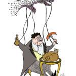 «Mennesket som mikrobiell marionett?». Tarmfloraen kan ha en finger med i spillet i reguleringen av appetitt og energilagring og derved i utviklingen av fedme og metabolsk syndrom. (Tegning ved Jørgen Valeur)