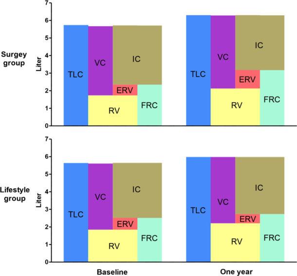 """Figur 3. Endringer i statiske lungevolum før og etter vektreduksjon.  Fra Gabrielsen et al. Clinical Obesity 2013; 3(5): 117-23."""" Trykkes med tillatelse."""