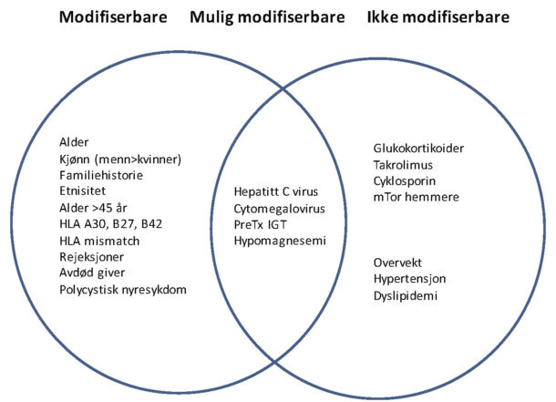 Figur 2. Figuren viser risikofaktorer for utvikling av posttransplantasjons-diabetes, inndelt etter om de er modifiserbare, mulig modifiserbare og ikke-modifiserbare.