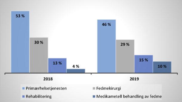 Figur 2: Figuren viser andelen pasienter fordelt på ulike behandlingsstrategier ved tverrfaglig utredning ved lokalsykehus i 2018 og 2019. Data fra Fedmeregisteret Ahus 2019.
